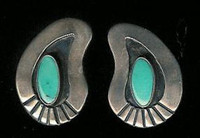 EARRINGS NAVAJO TURQUOISE SHADOWBOX PAWN