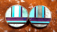 EARRINGS NAVAJO SILVER VARACITE TURQUOISE SUGILITE INLAY ROUND RAY TRACEY