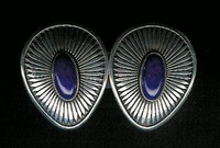 EARRINGS NAVAJO LAPIS SILVER OVAL Marco Begay ENLSOMB4