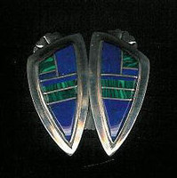 EARRINGS NAVAJO LAPIS & MALACHITE SILVER EH SOLD