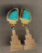 EARRINGS NAVAJO 14KT GOLD TUFA CAST TURQUOISE Al Nez