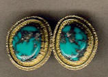 EARRINGS NAVAJO 14KT GOLD MORENCI TURQUOISE Al Nez