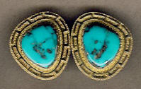 EARRINGS NAVAJO 14KT GOLD GREEK KEY DESIGN MORENCI TURQUOISE Al Nez