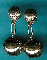 EARRINGS NAVAJO 14 KT GOLD DANGLE ROUND BEAD