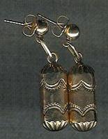 EARRINGS NAVAJO 14 KT GOLD DANGLE BARREL BEAD