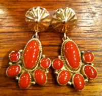 EARRINGS NAVAJO GOLD & CORAL KS