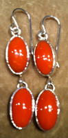 EARRINGS NAVAJO CORAL DANGLE FRENCH WIRE
