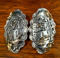 EARRINGS KIOWA SILVER & GOLD STORYTELLER OVAL Phil Pvo