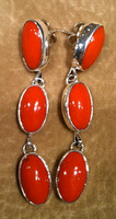 EARRINGS NAVAJO CORAL DANGLE
