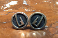 EARRINGS HOPI SILVER SMALL ROUND KIVA STEP DESIGN UNISEX