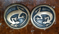 EARRINGS HOPI STERLING SILVER LARGE ROUND LIZARD PAWN SOLD