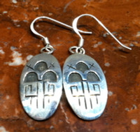 EARRINGS HOPI SILVER OVAL FRENCH WIRE RAIN CLOUD LIGHTNING CM SOLD