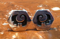 EARRINGS HOPI SILVER HEXAGON WATER PATTERN DESIGN CLIP