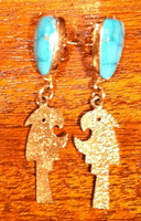 EARRINGS HOPI 14KT GOLD TUFA CAST PARROT DESIGN MORENCI TURQUOISE Roy Talahaftewa