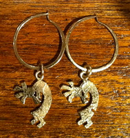 EARRINGS HOPI 14KT GOLD TUFA CAST KOKOPELLI HOOPS Roy Talahaftewa