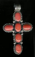 Don Lucus Pendants Silver Orange Coral Cross Pendant