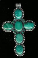 Don Lucus Pendants Silver Blue Gem Turquoise Cross Pendant SOLD