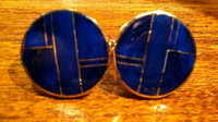CUFF LINKS NAVAJO 14KT GOLD LAPIS INLAY Ray Tracey