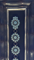 Zuni Channel Inlay Cluster Round Floral Turquoise Concho Belt_31 Roosevelt & Bernice Tekala