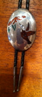 BOLO ZUNI SILVER TURQUOISE & CORAL CHIP INLAY WOOD HUMMINGBIRD PAWN ANDREW DEWA SOLD