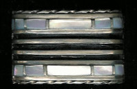 BRACELETS ZUNI SILVER MOTHER OF PEARL 1970's PAWN BZSMOPP2