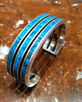 BRACELETS ZUNI SILVER MULTI-INLAY BLUE GEM TURQUOISE Larry Loretto SOLD