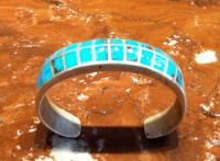 BRACELET ZUNI MULTI-STONE INLAY BLUE GEM TURQUOISE PAWN