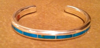 BRACELETS ZUNI MULTI-INLAY BLUE GEM TURQUOISE Larry Loretto BZMITLL4 SOLD