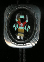 BOLO TIES NAVAJO MADE SHADOWBOX ZUNI STYLE INLAY APACHE DANCER KACHINA B Largo