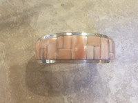 BRACELETS ZUNI SILVER RARE ANGEL SKIN CORAL INLAY B Touchine