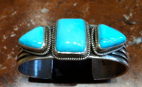 BRACELETS NAVAJO STERLING SILVER SLEEPING BEAUTY TURQUOISE Andy Cadman Kaizen SOLD