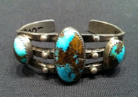 BRACELETS NAVAJO SILVER 3 OVAL STONE TURQUOISE 1940's INGOT PAWN CUFF