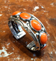 BRACELETS NAVAJO SILVER CORAL 7 OVAL HORIZONTAL CABOCHONS Orville Tsinnie SOLD