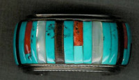 BRACELETS NAVAJO SILVER MULTI-COLOR RAISED INLAY CJ