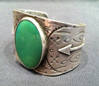 BRACELETS NAVAJO SILVER GREEN OVAL TURQUOISE PAWN
