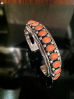 BRACELETS NAVAJO SILVER 15 OVAL CORAL CABOCHONS  Jeanette Dale SOLD