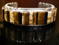 BRACELETS NAVAJO ONYX JASPER TIGER EYE CONTEMPORARY RAISED INLAY Thomas Francisco SOLD
