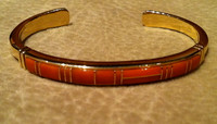BRACELETS NAVAJO 14KT GOLD CORAL MULTI-INLAY