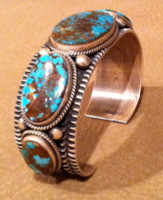 BRACELETS NAVAJO FIVE STONE OVAL PILOT MOUNTAIN TURQUOISE LARGE Darrell Cadman SOLD