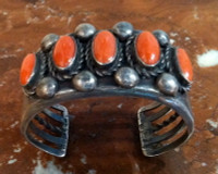 BRACELETS NAVAJO SILVER CORAL 5 CABOCHONS 1950's PAWN