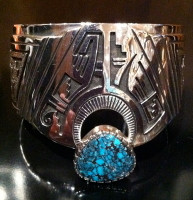 BRACELETS HOPI SILVER TURQUOISE WIDE CUFF Roy Talahaftewa