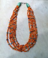 BRUCE ECKHARDT HEISHI BEAD NECKLACE ORANGE CORAL 6 STRAND MULTI-STONE