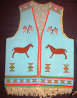 Native American Indian Style Fully Beaded Vest with Horse Motif SOLD