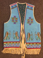 Native American Indian Style Fully Beaded Vest with Chiefs Motif SOLD