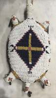Native American Sioux Style Beaded White Turtle Amulet BD111