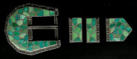 BELT BUCKLES*ZUNI*SILVER*TURQUOISE INLAY*RANGER STYLE*C Haloo SOLD