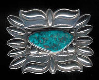 BELT BUCKLE NAVAJO SILVER REPOUSSE' TURQUOISE Edison Sandy Smith SOLD