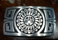 BELT BUCKLE HOPI SILVER SUNFACE Willie Archie D SOLD