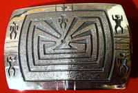 BELT BUCKLE HOPI SILVER MAN IN THE MAZE Ben Mansfield