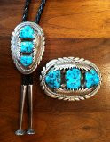 BELT BUCKLE BOLO SET NAVAJO STYLE ZUNI HANDMADE KINGMAN TURQUOISE Robert and Bernice Leekya SOLD